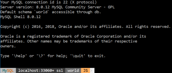 MySQL Shell with the default font.