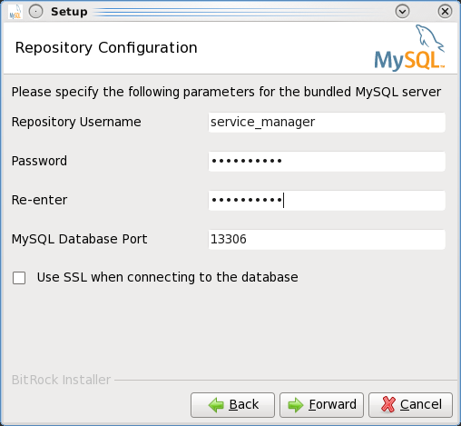 Installing the MEM 3.0 Service Manager - Step 7: Specify username and password for the Service Manager to connect to the MySQL database storing the data collected through the monitoring