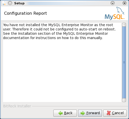Installing the MEM 3.0 Service Manager - Step 8: Info that MEM will not start automatically when not installed as root