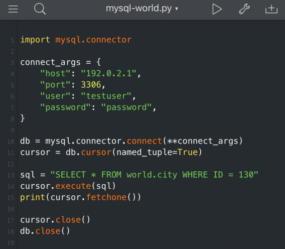 Coding with MySQL Connector/Python on an iPad