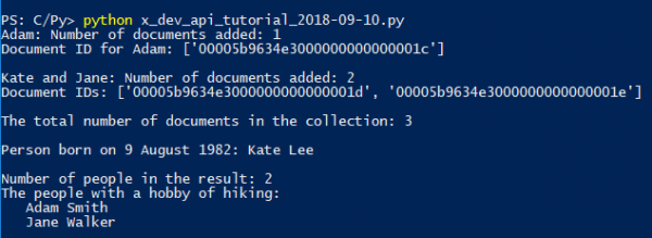 The output of the example program