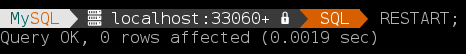 The RESTART command available in MySQL 8.0.